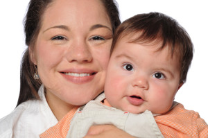 woman and baby stock photo